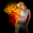 Woman Dancing with Fire on Black — Stock Photo