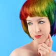 Unique Rainbow Hair Woman on Blue — Stock Photo