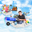Internet Cloud with Technology Icons — Stock Photo