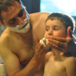 Father and Son Shaving in Bathroom — Stock Photo
