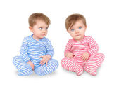 Curious Twin Babies on White — Stock Photo