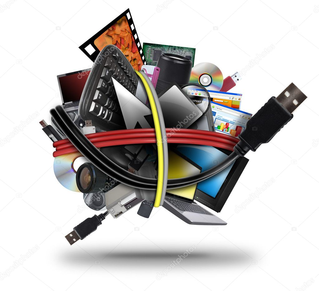A ball of different electronic media devices ranging from a laptop to a television. A usb cord wire is wrapped around the gadgets on a white background.   Photo #11145206
