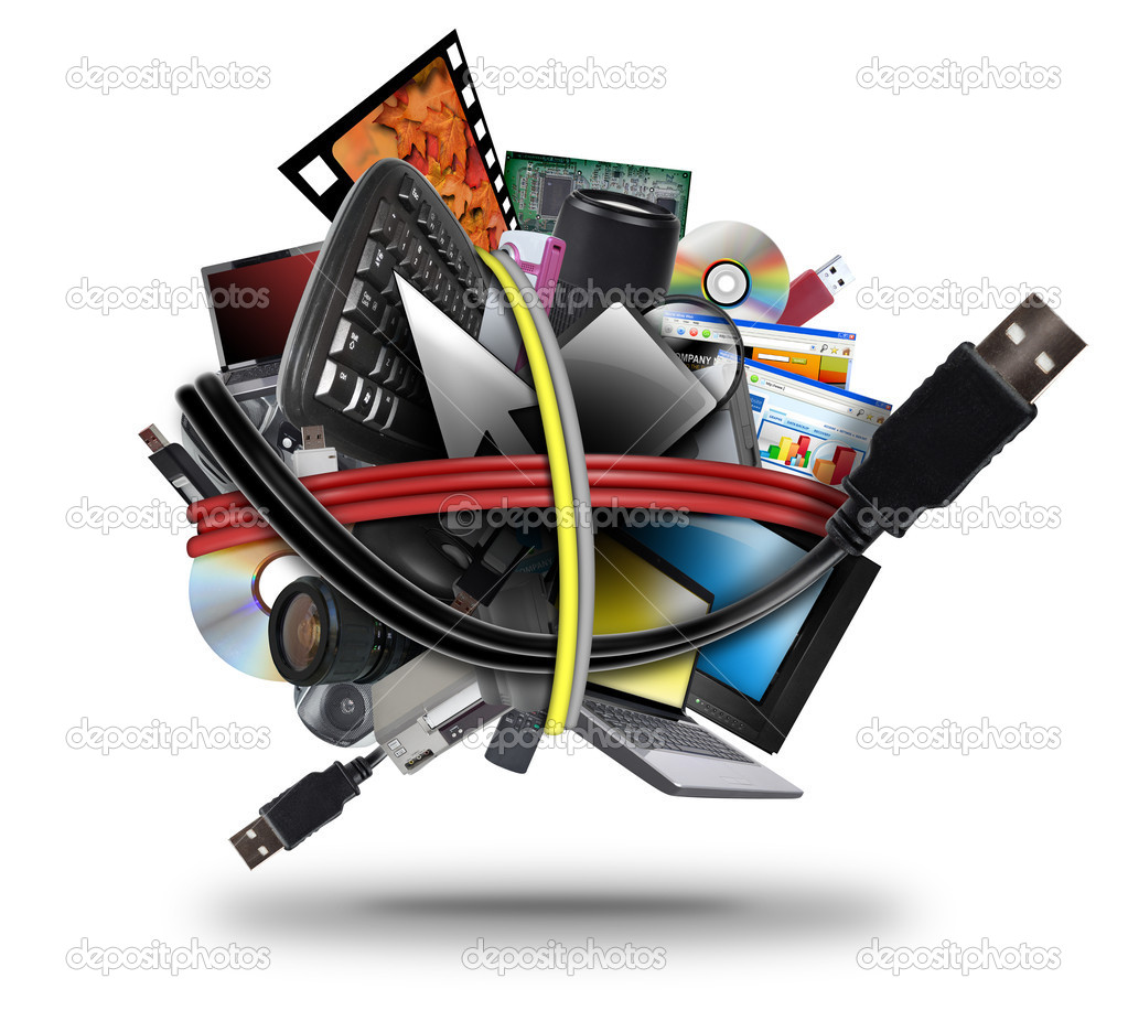 A ball of different electronic media devices ranging from a laptop to a television. A usb cord wire is wrapped around the gadgets on a white background.  — Foto Stock #11145206