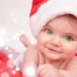 Santa Christmas Baby with Magic Sparkles — Stock Photo