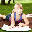Little girl drawing — Stock Photo #12335727