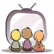 Children watching tv — Stock Vector
