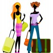 Stock Vector: Girls with suitcases