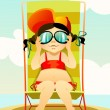 Young girl in sunglasses on a beach — Stock Vector #11085618