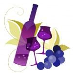 şişe, wineglassses ve üzüm — Stok Vektör