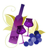Bottle, wineglassses and grape — Stock Vector