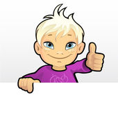 Smiling boy showing thumb — Stock Vector