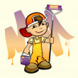 Young painter with roller — Stock Vector