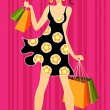 Young girls shopping — Stock Vector #11556021