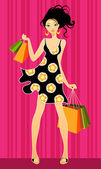 Young girls shopping — Stock Vector
