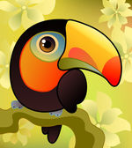 Toucan on the branch — Stock Vector