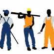 Three workers silhouettes — Stock Vector