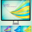 Curvy abstract background with monitor — Stock Vector #11651712