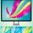 Curvy abstract background with monitor — Stock Vector #11651872