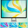 Curvy abstract background with monitor — Stock Vector