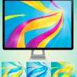 Curvy abstract background with monitor — Stock Vector #11652753