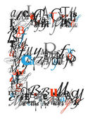Letter E, alphabet from letters — Stock Photo