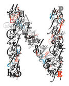 Letter N, alphabet from letters — Stock Photo