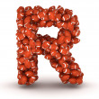 Letter R, american football alphabet - Stock Photo