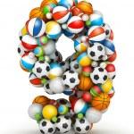 Number 9, gaming balls alphabet — Stock Photo