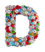 Letter D from gems — Stock Photo
