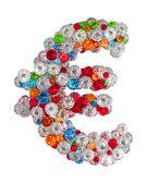 Euro-zeichen aus edelsteinen — Stockfoto
