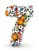 Number 7, gaming balls alphabet — Stock Photo