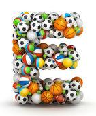Letter E, gaming balls alphabet — Stock Photo