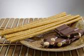 Schokolade mit Brot-sticks — Stockfoto