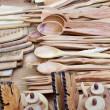 Souvenir spoons made ​​of wood — Stock Photo