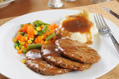 Salisbury steak dinner — Stock Photo