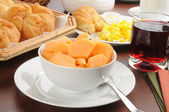 Continental Breakfast with Cantaloupe — Stock Photo