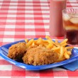 Stock Photo: Fried chicken on picnic table with copyspace
