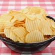 Large bowl of potato chips — Stock Photo