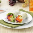 Avocado sandwich wraps with sweet chili sauce - Stock Photo