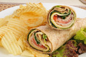 Turkey wraps with chips — Stock Photo