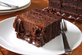 Rebanada de pastel de chocolate — Foto de Stock