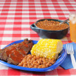 Stock Photo: Beef brisket and boston baked beans