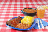 Beef brisket and boston baked beans — Stock Photo