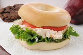 Closeup of a chicken salad bagel sandwich — Stock Photo