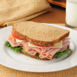 Stock Photo: Ham and cheese on wheat