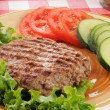 Stock Photo: Grilled ground beef patty with vegetables
