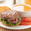 Royalty-Free Stock Photo: Thick hamburger with tomato soup