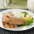Royalty-Free Stock Photo: Salmon wrap with cottage cheese