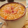 Stock Photo: Bewith bacon soup with crackers