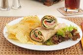 Smoked turkey sandwich wraps — Stock Photo